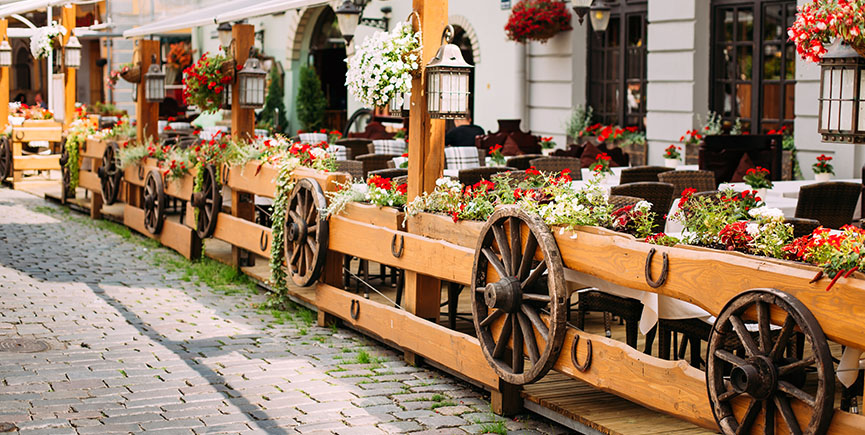 Exterior Of Cozy Outdoor Street Cafe In Retro Rural Rustic Style