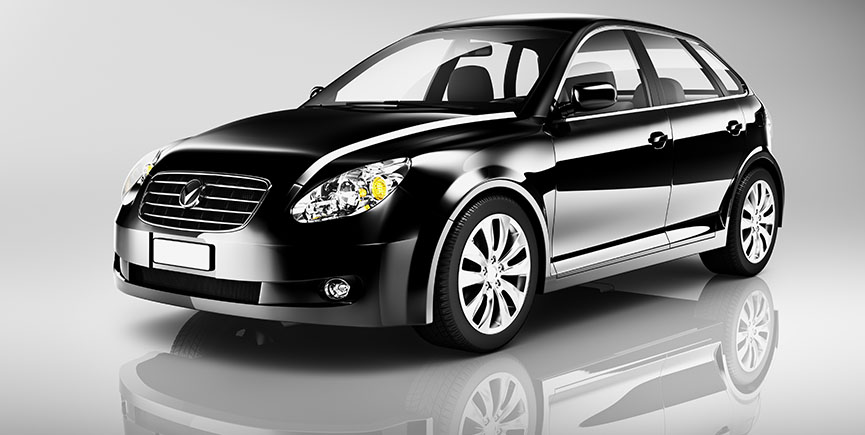 Three-Dimensional Shape Black Sedan Studio Shot