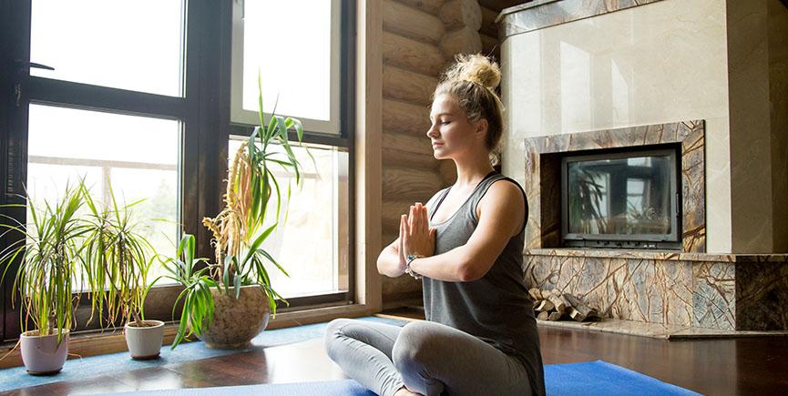 Yoga at home: meditation session